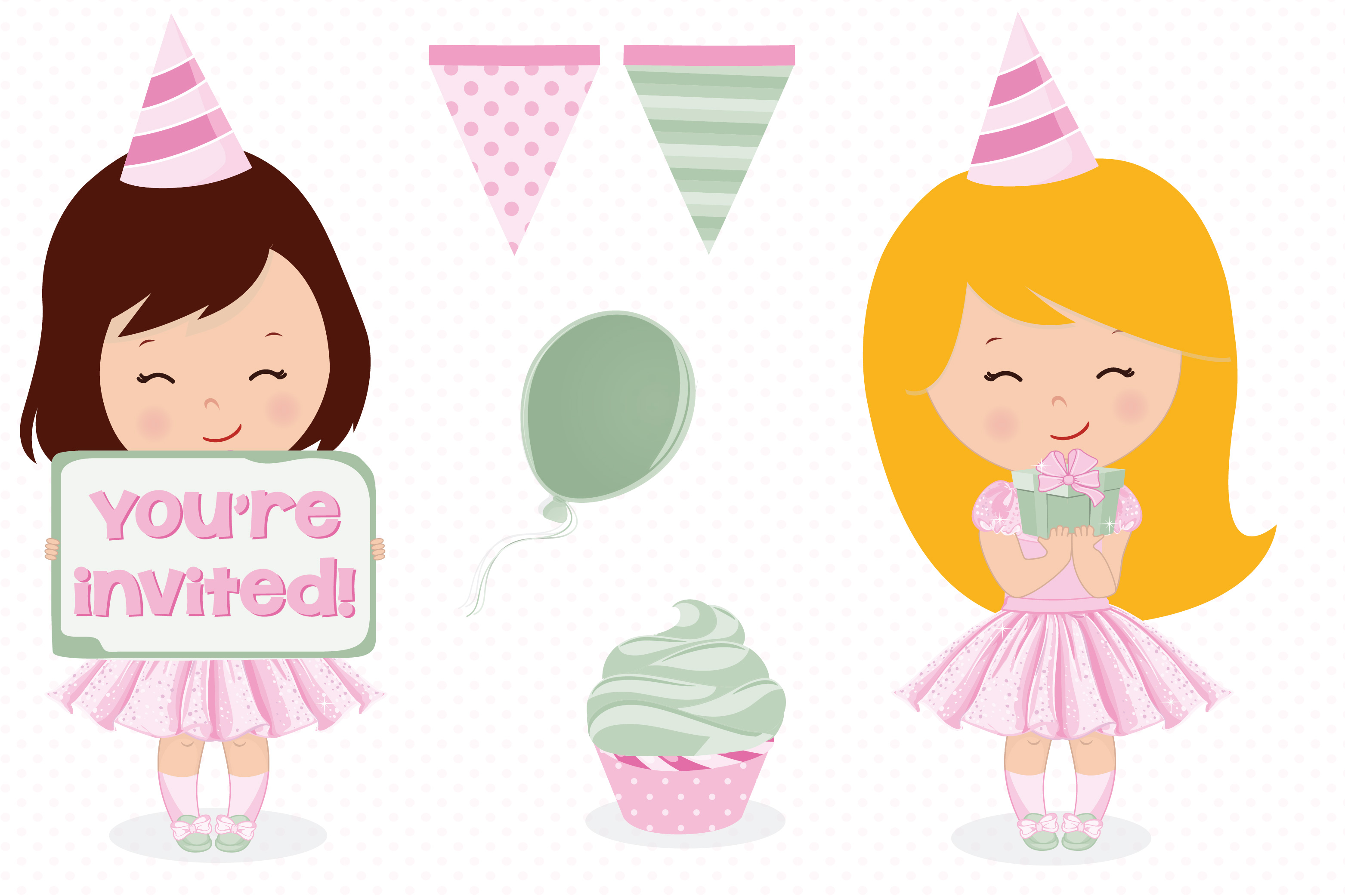 Birthday girl, Birthday digital papers example image 3