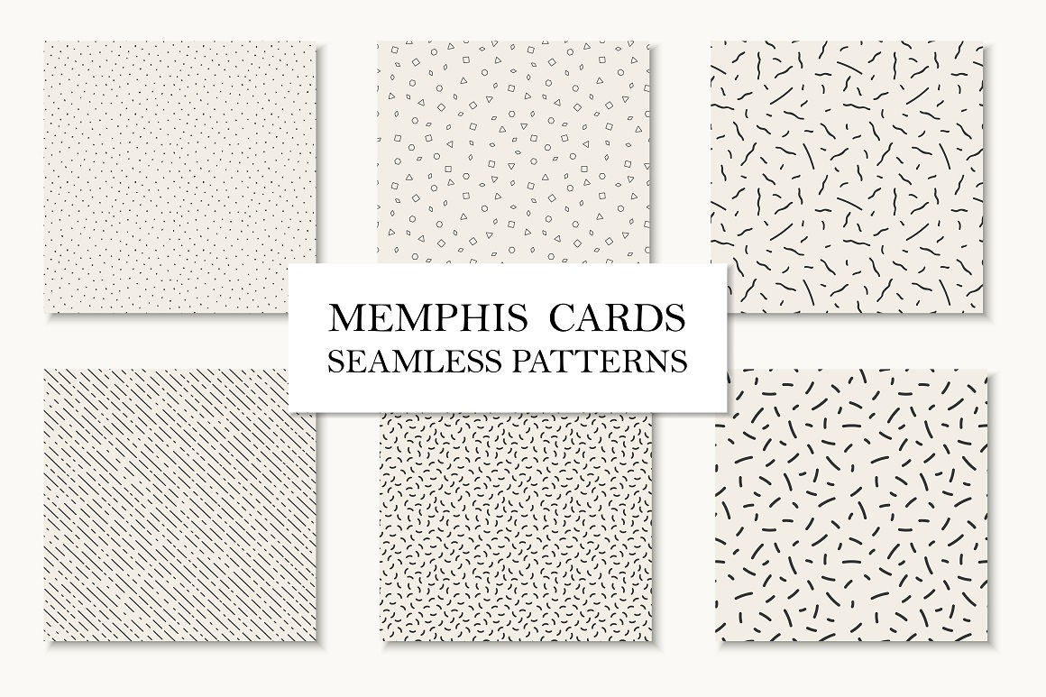 Seamless patterns in memphis style example image 1