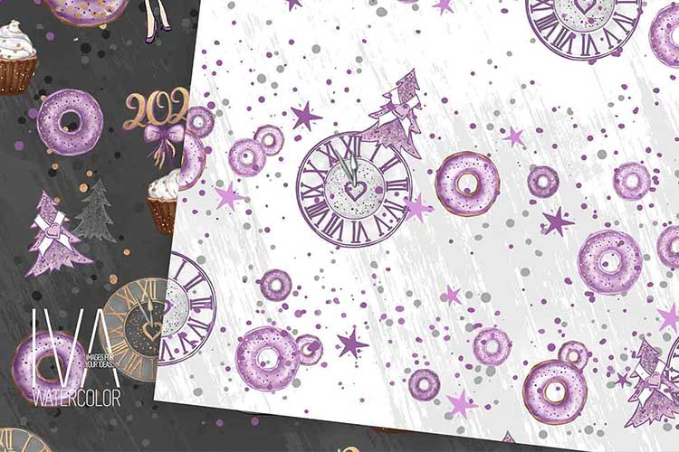 New Year's Eve Digital Paper Pack, Fashion Illustration example image 7