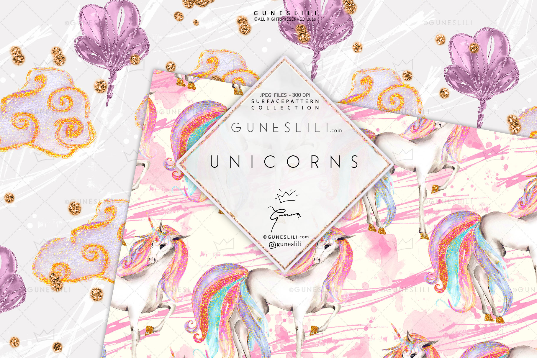 Pastel Unicorn Digital Pattern Pack Watercolor example image 6