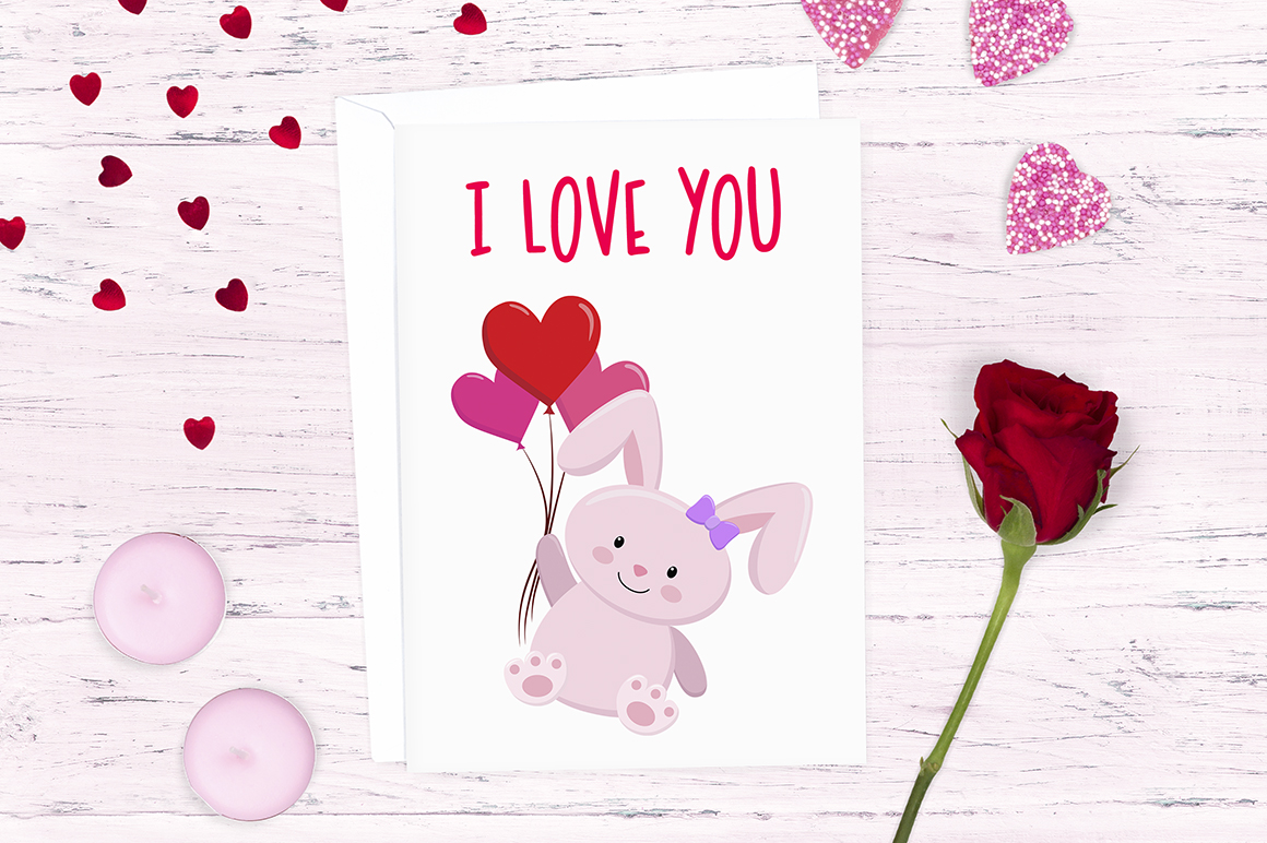 Love Bunny Clipart Illustrations example image 4