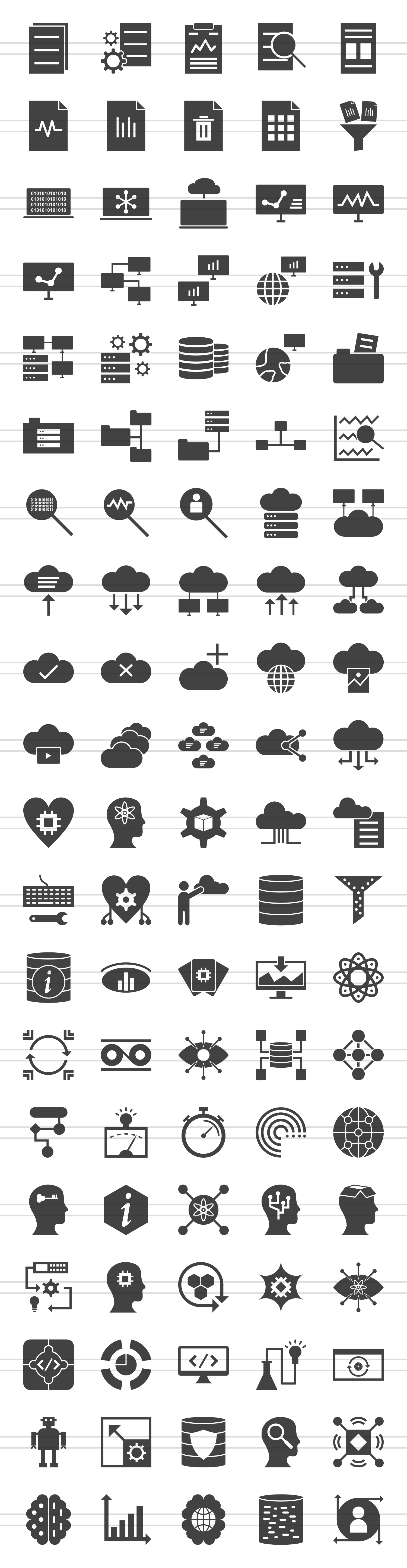 100 Data Glyph Icons example image 2