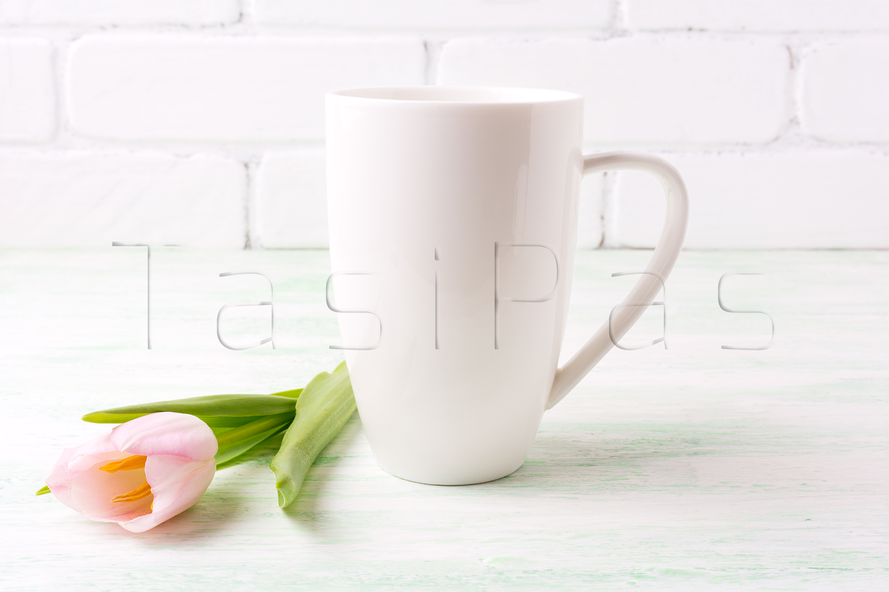 White coffee cappuccino mug mockup with tender pink tulip flower. example image 2