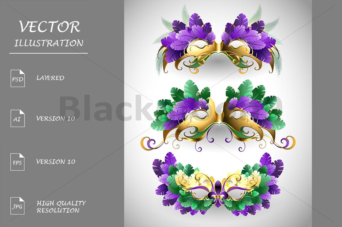 Set of Mardi Gras Masks example image 1