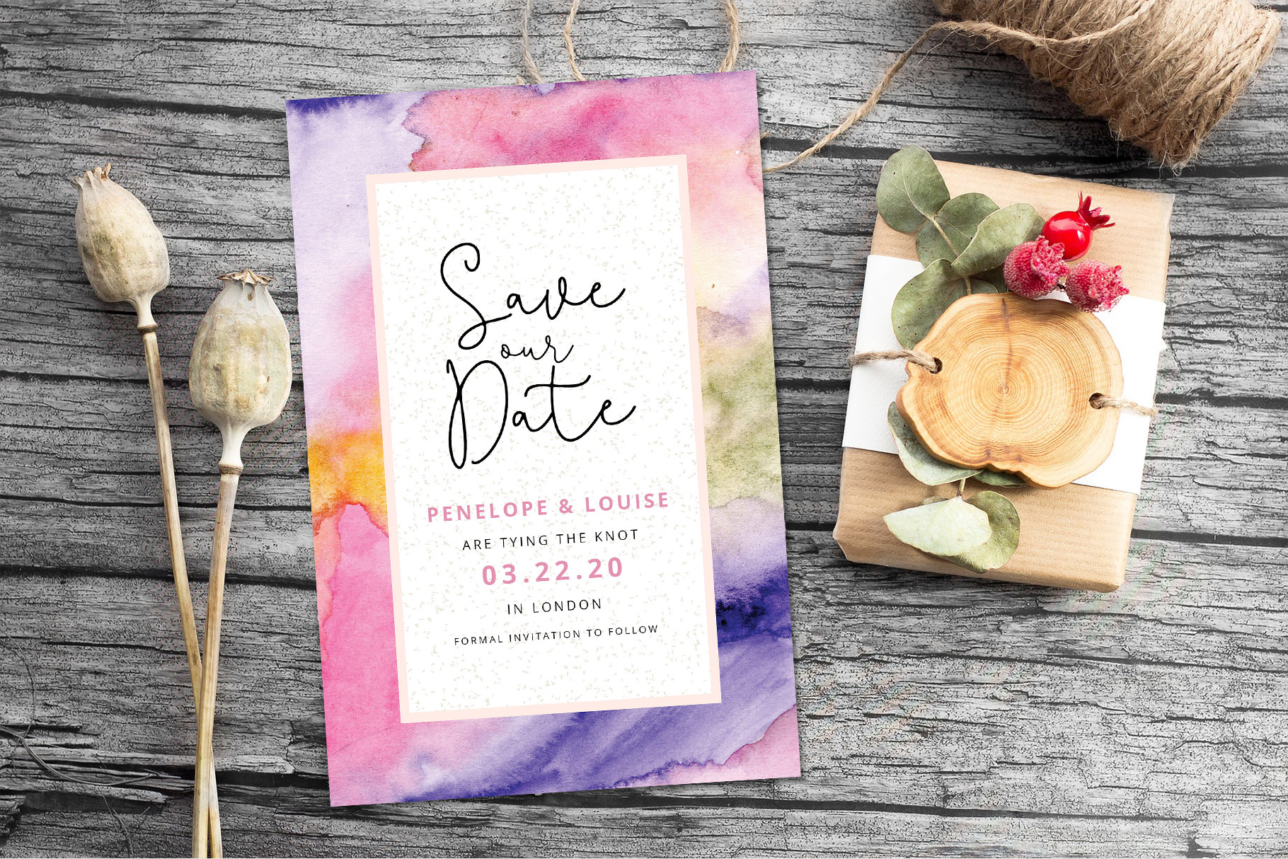 Abstract Floral Wedding Invitation example image 3