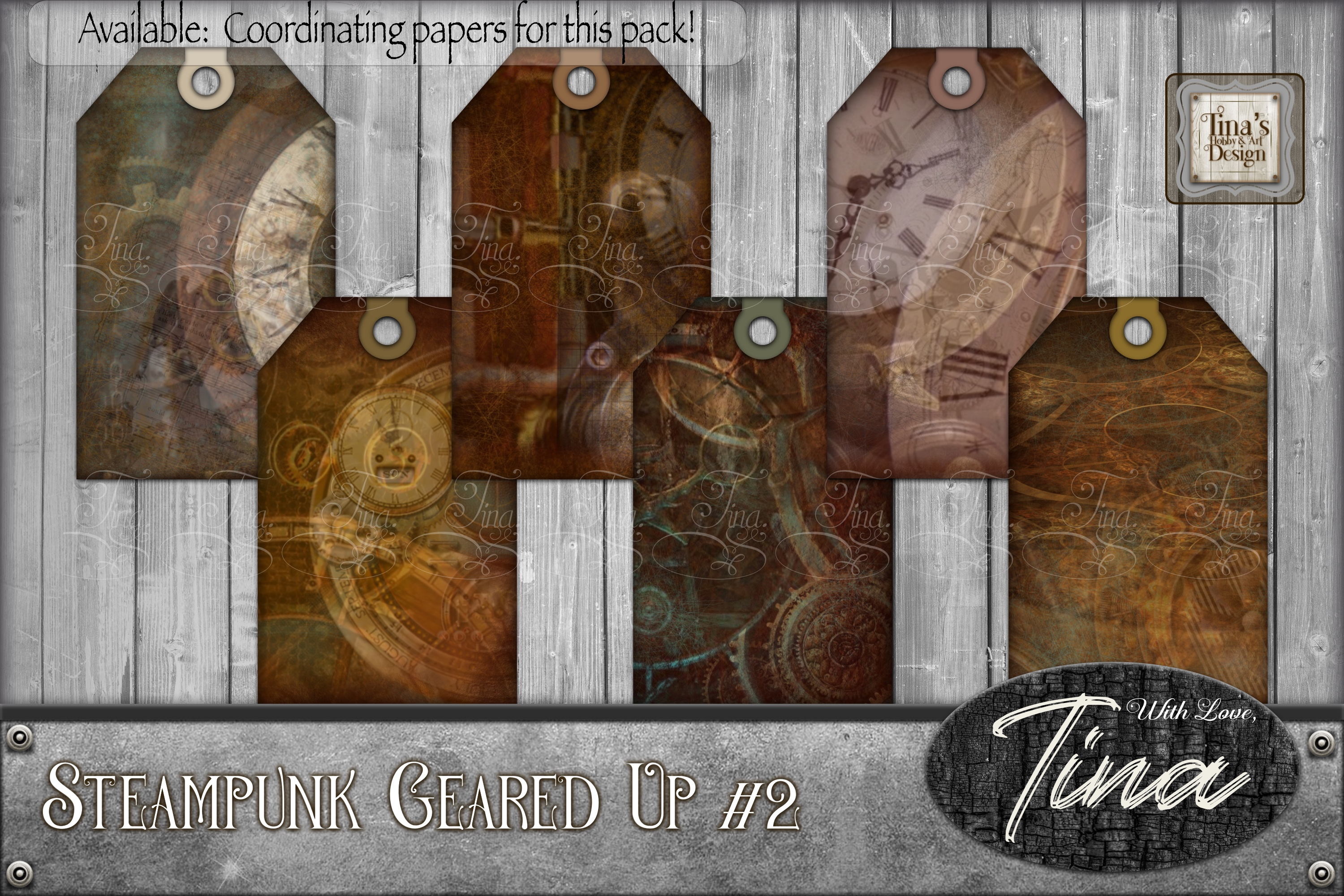 Steampunk Geared Up Gears Clocks Grunge Tags 092918GU2a example image 1