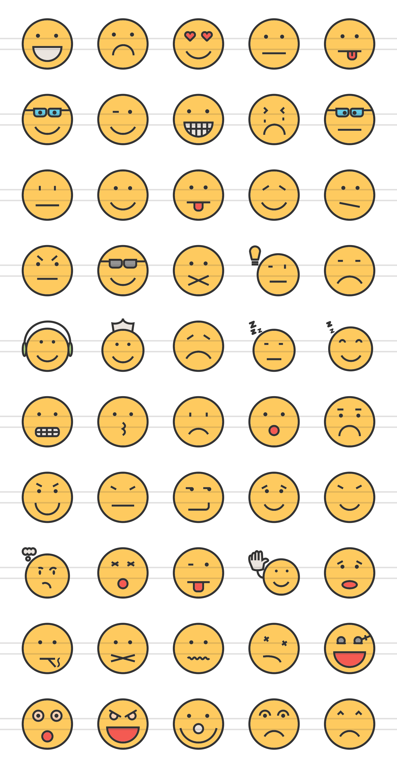50 Emoticons Linear Multicolor Icons example image 2