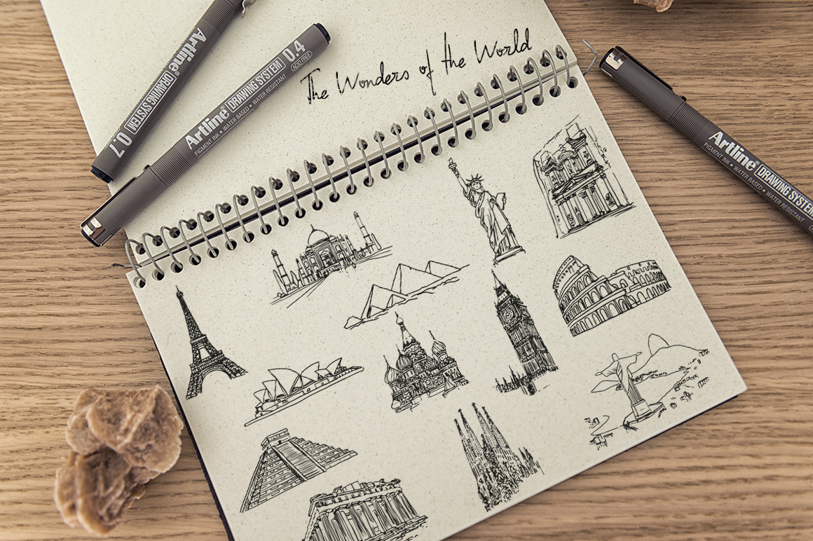 The Wonders of the World - Hand draw example image 3