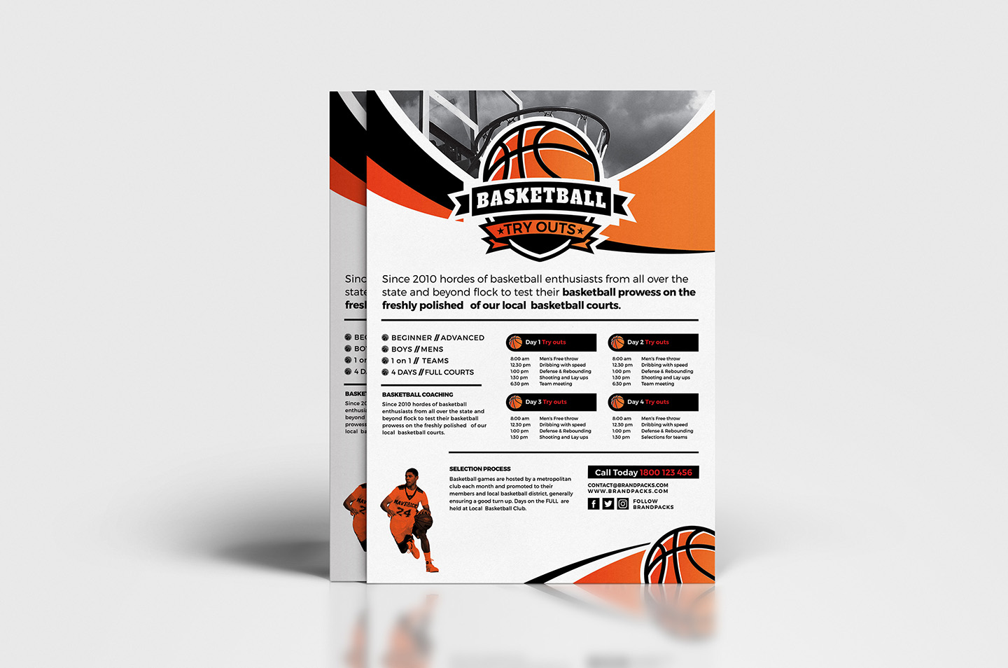 A4 Basketball Advertisement Template example image 2