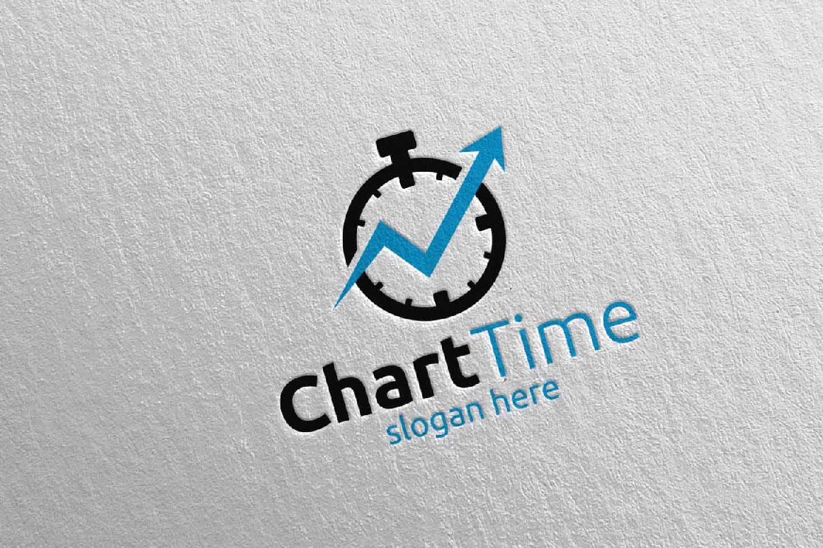 Chart Time Marketing Financial Advisor Logo Design 18 example image 4