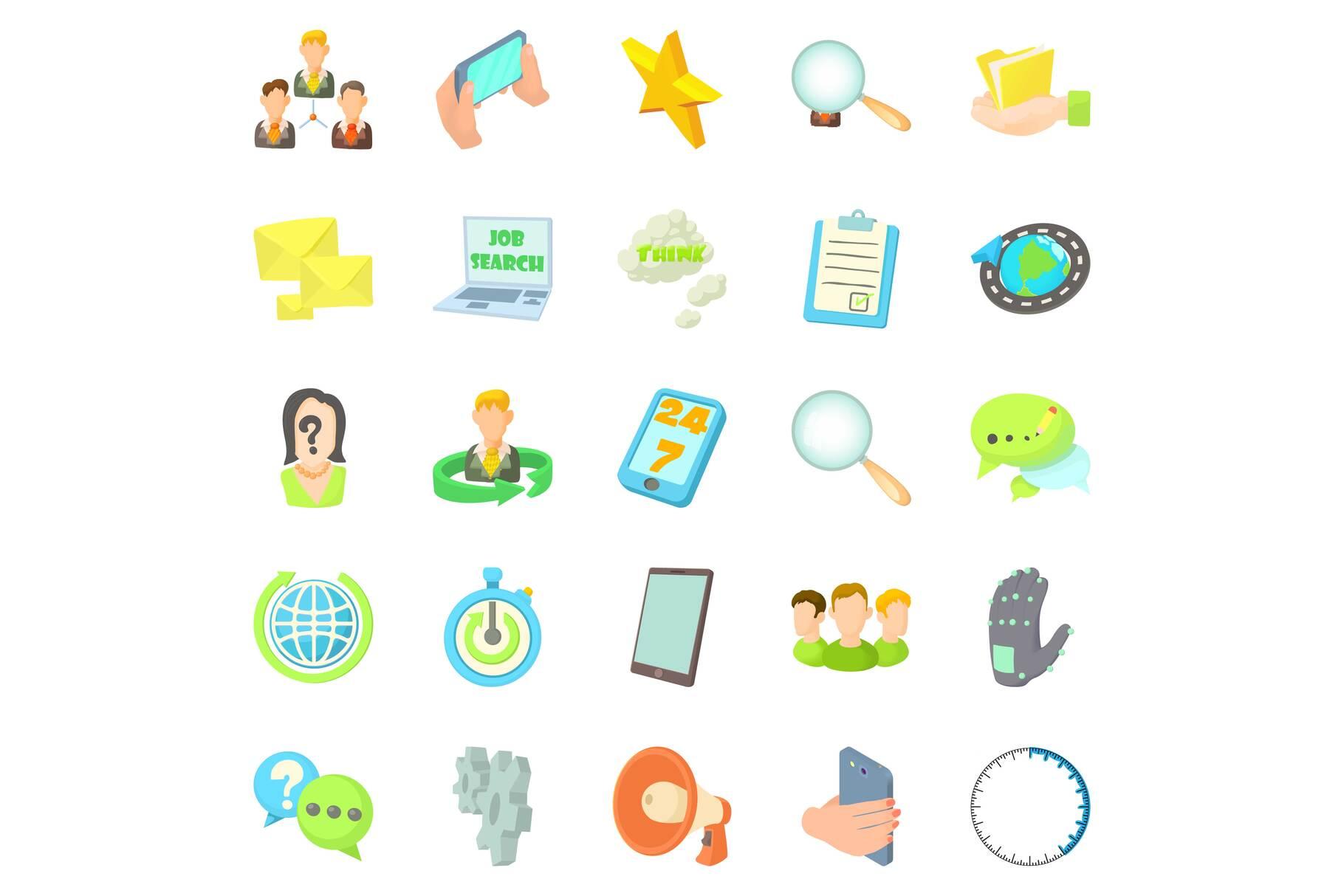 Buzz icons set, cartoon style example image 1
