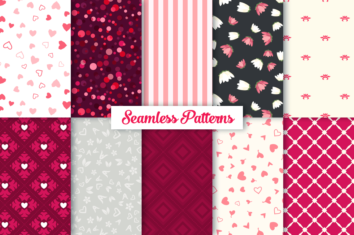 100 Heart Vector Ornaments and Seamless Patterns example image 4
