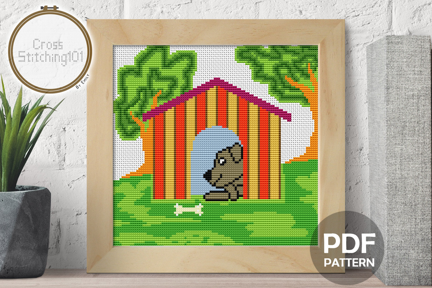 Dog n House Cross Stitch Pattern - Instant Download PDF example image 1