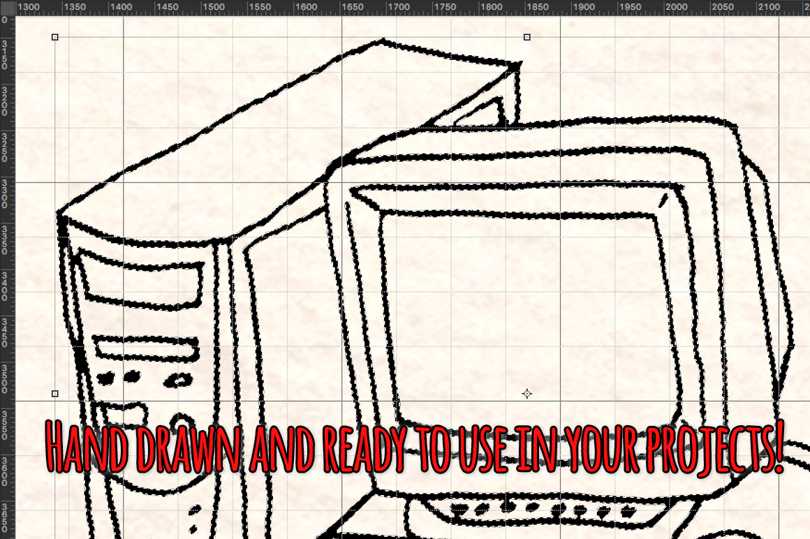50 Hand Drawn Retro Technology Computer Graphics example image 3
