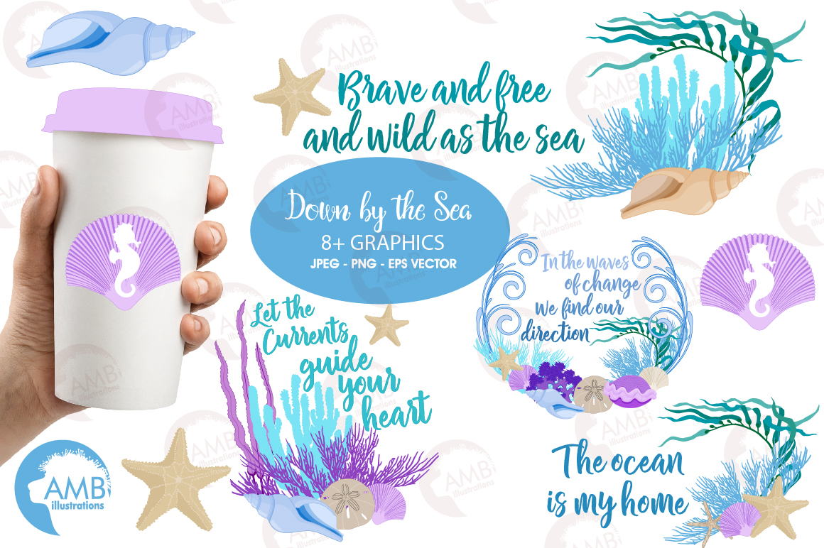 Down by the sea clipart, graphics, illustrations AMB-2342 example image 1