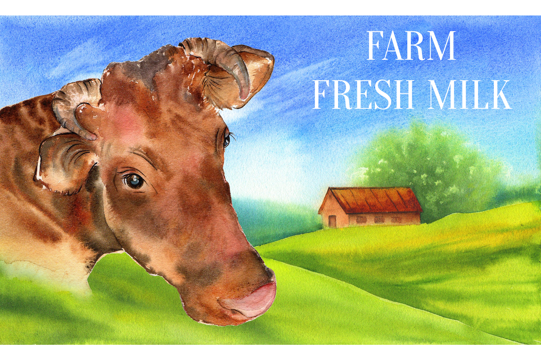 Farm animals watercolor collection example image 8
