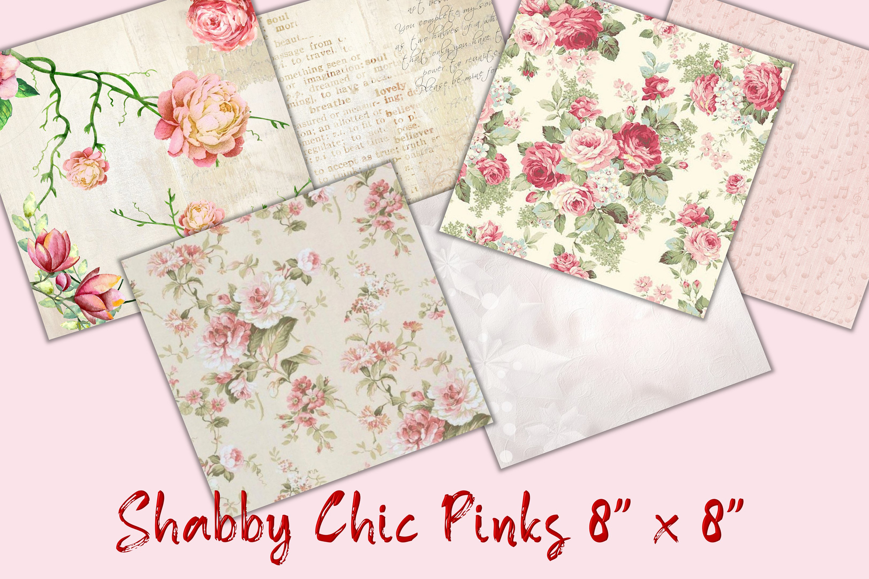 """30 Scrapbook Papers. Pink, Shabby Chic 8"""" x 8"""" JPEG & PDF example image 3"""