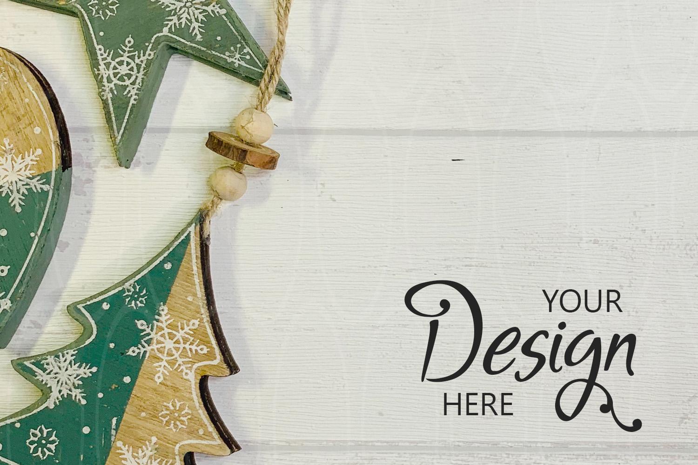 Styled Desk On White Shabby Wood Mockup Product Photography example image 1