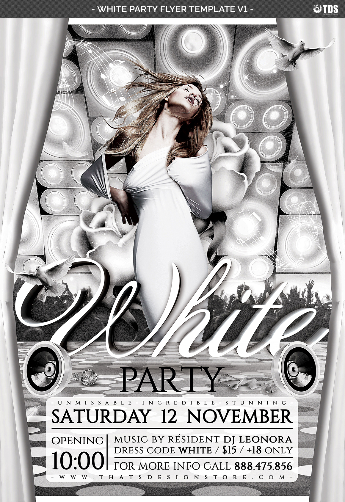 White Party Flyer Template V1 example image 4