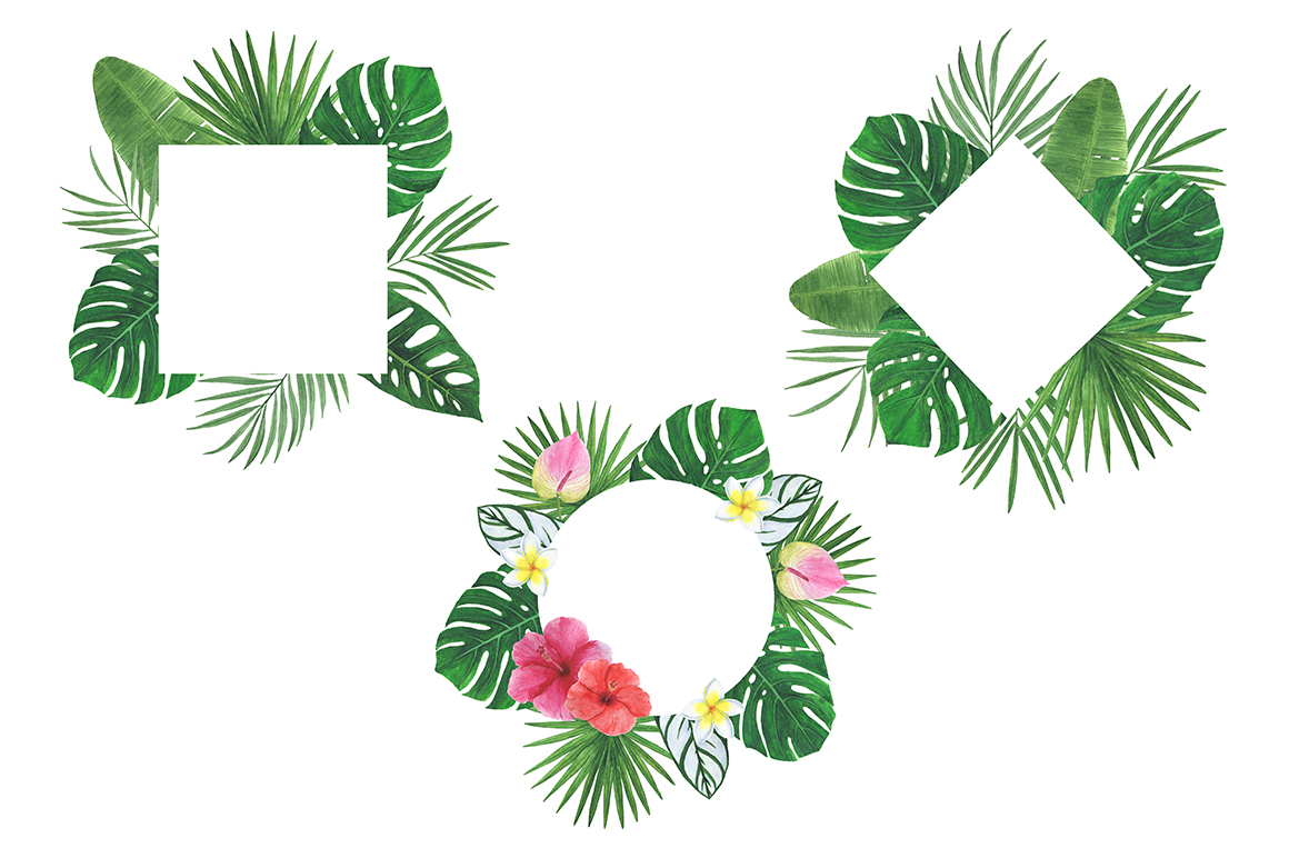 Watercolor tropical clipart example image 6