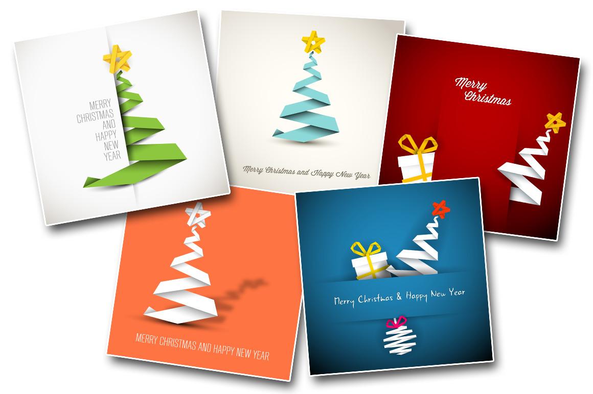 Christmas bundle: 5 minimalist christmas card templates example image 1