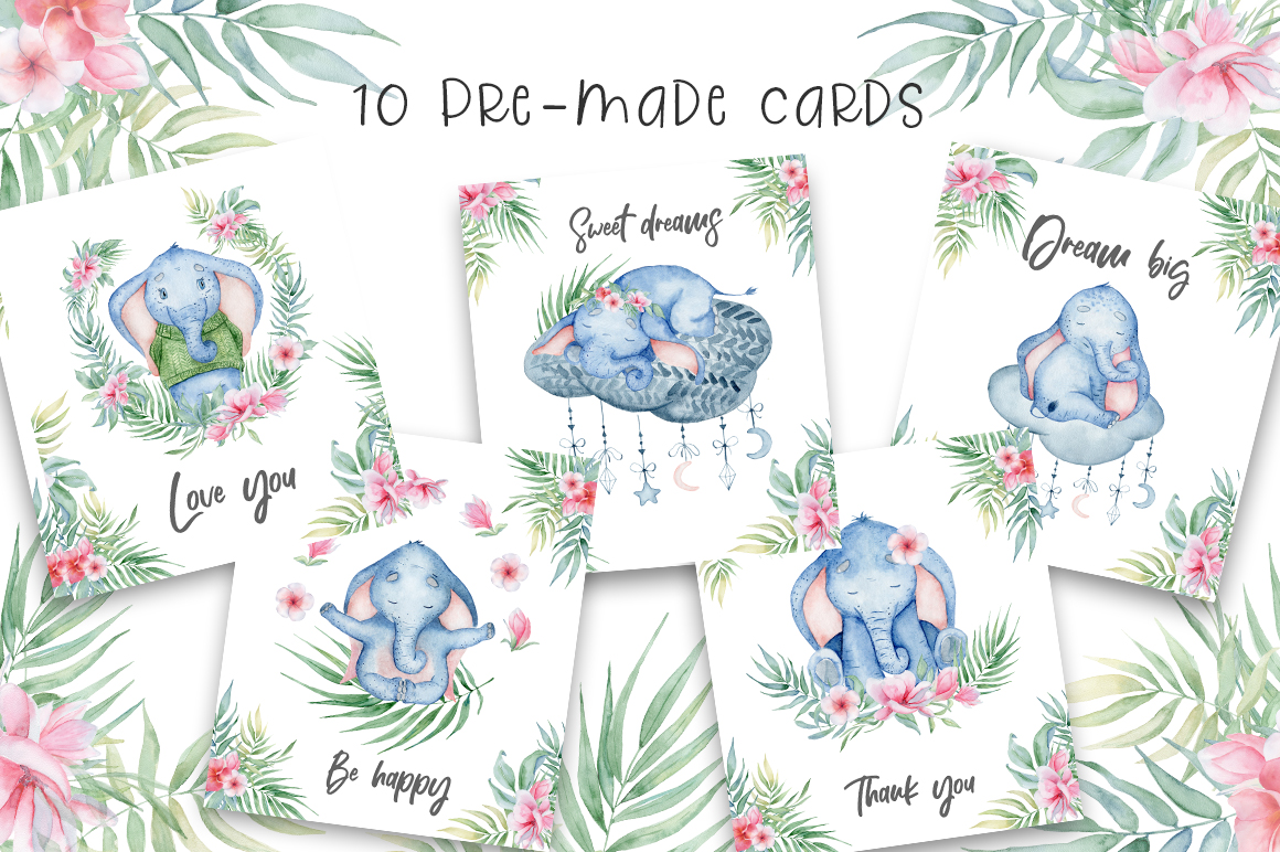 Lovely Elephants Watercolor set animals clipart example image 12