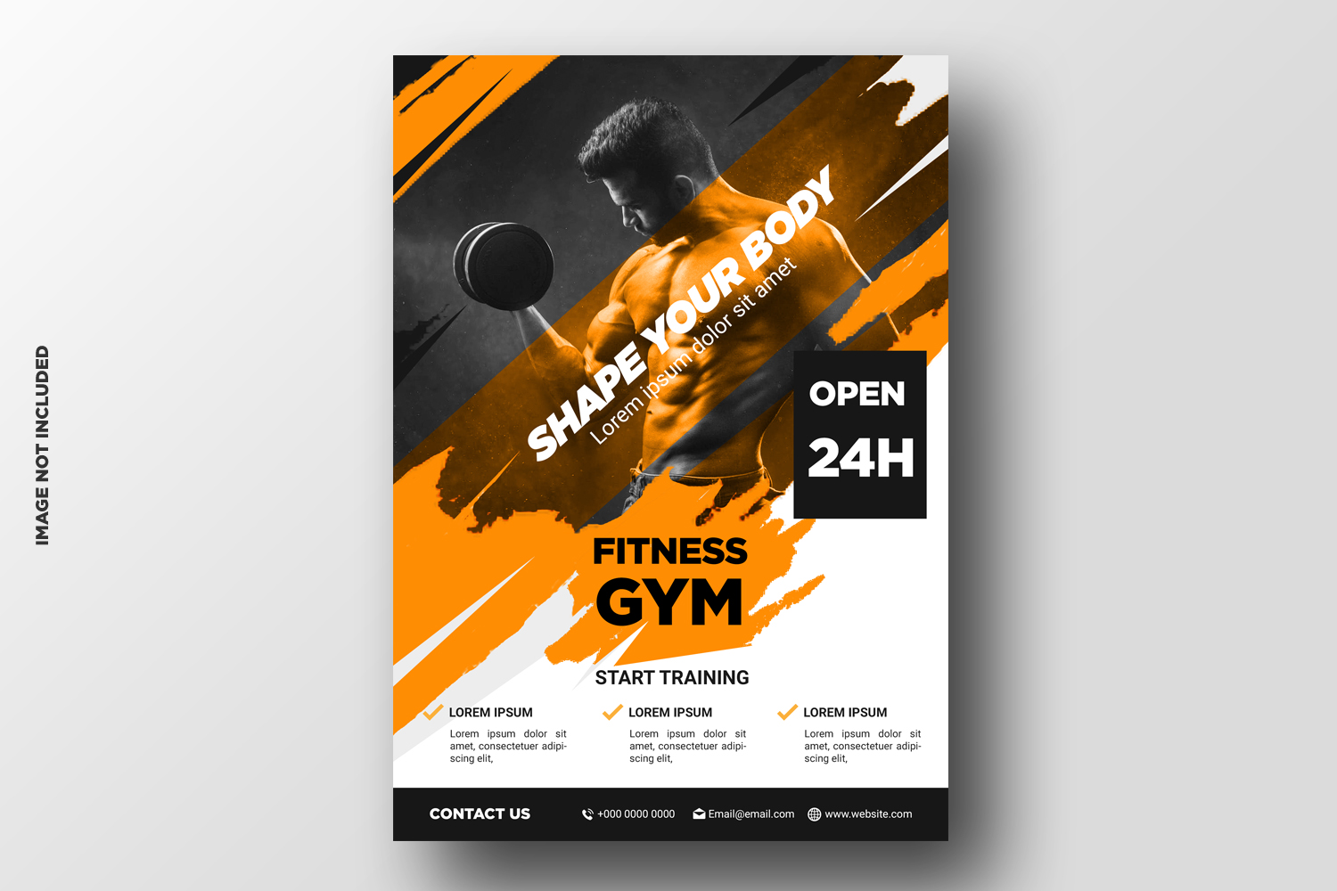Fitness Flyer template with grunge shapes example image 2