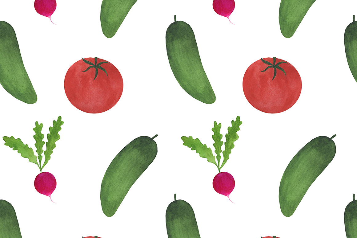 Watercolor vegetables collection example image 8