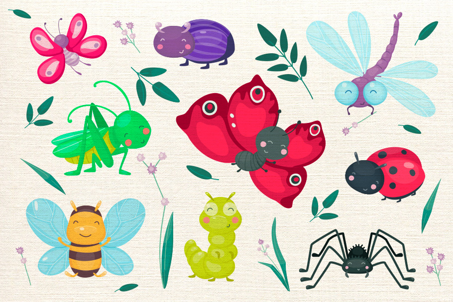 Cute cartoon vector insects example image 2