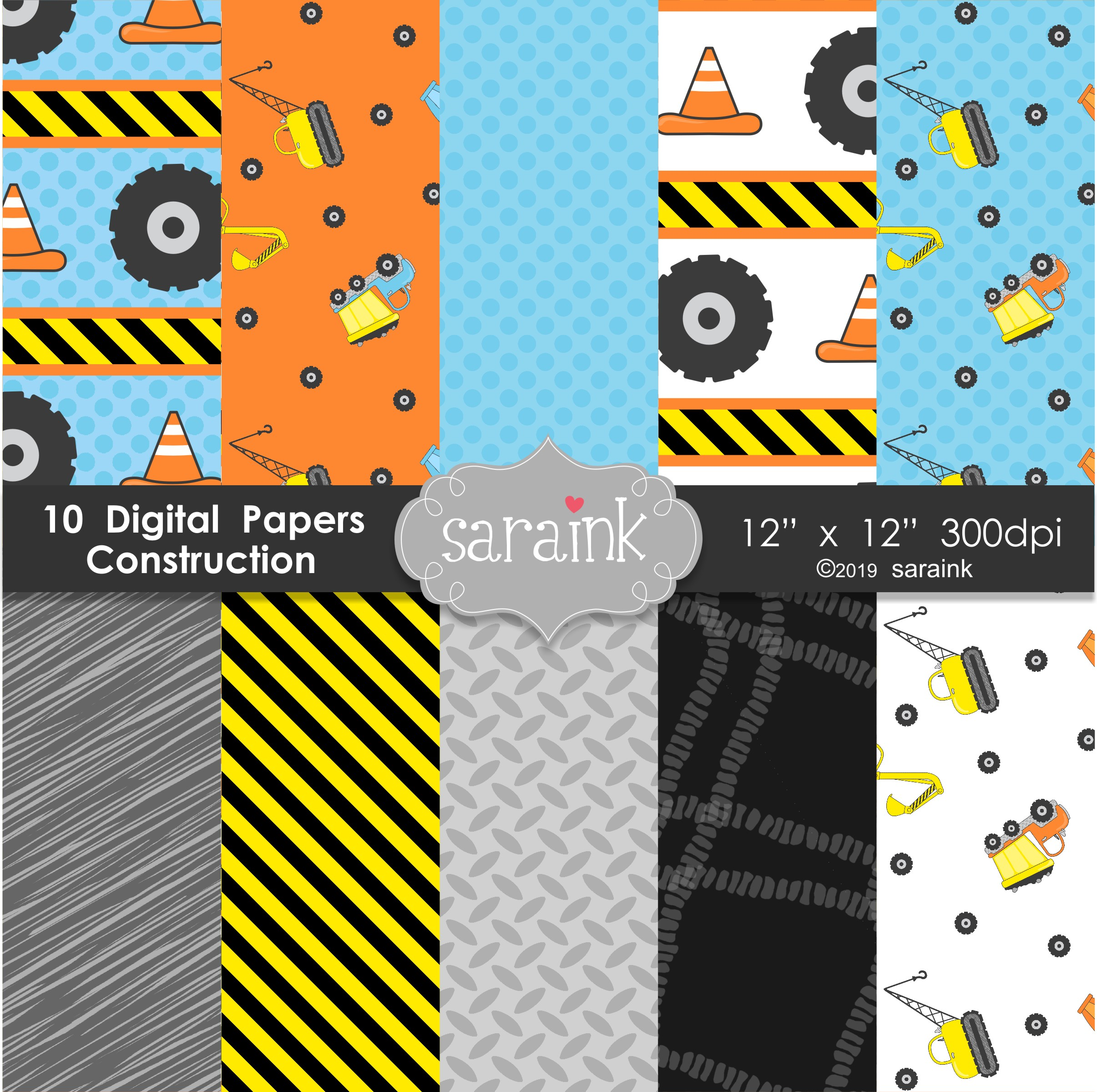 Construction Clipart & Digital Papers example image 2