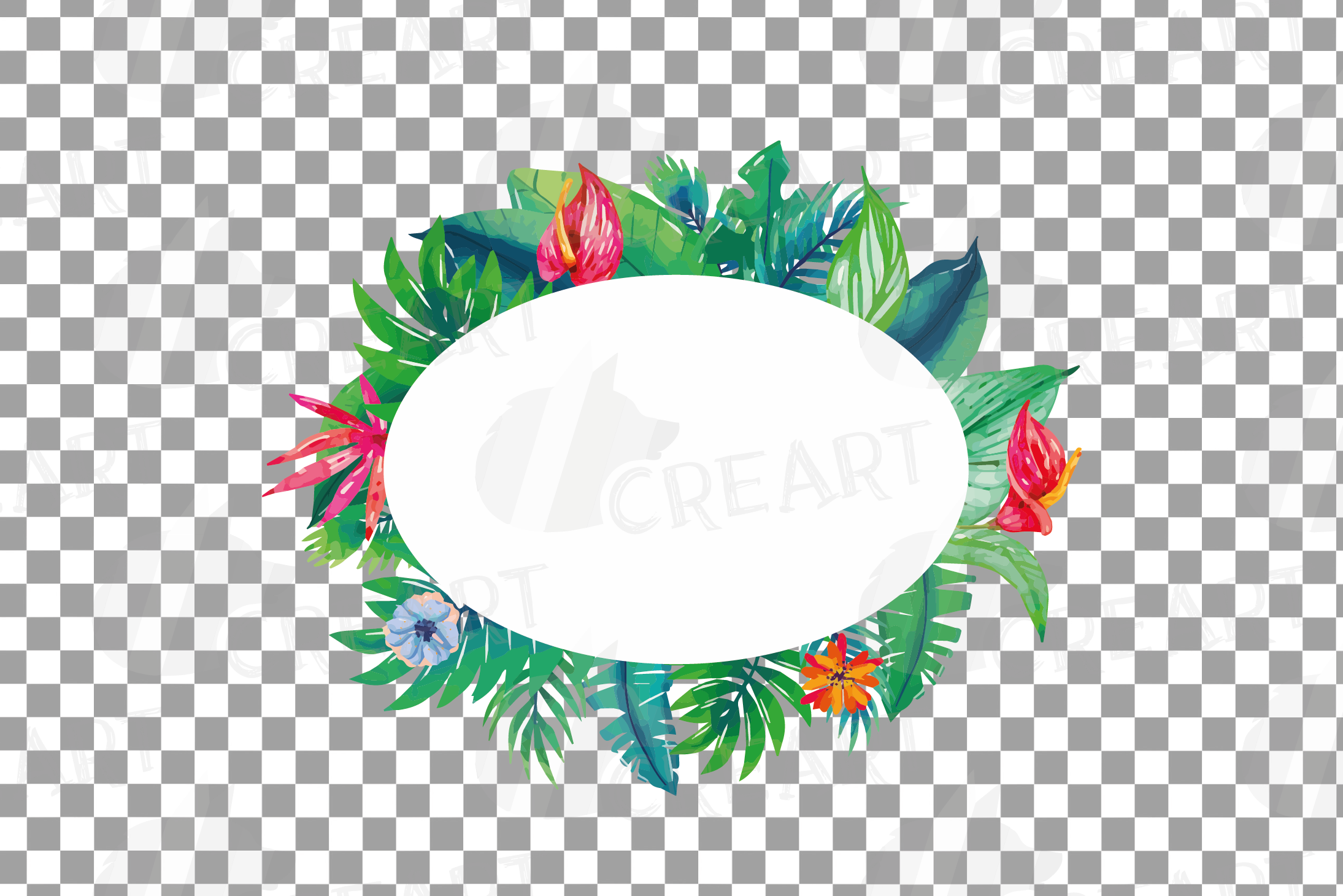 Watercolor tropical navy blue and green exotic floral frames example image 9