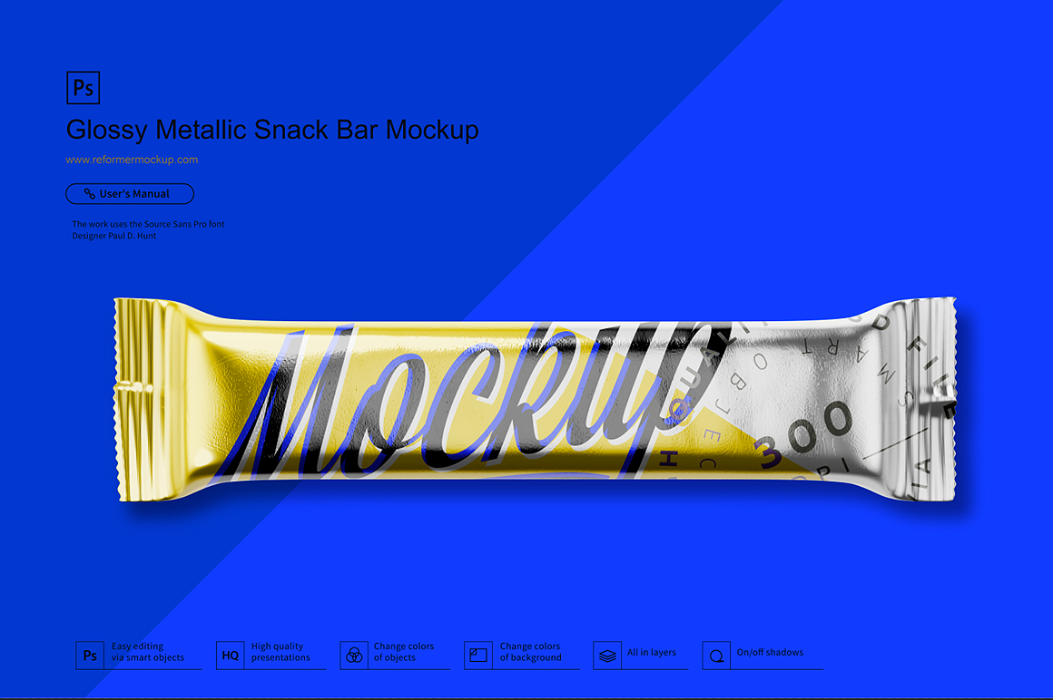 Glossy Metallic Snack Bar Mockup example image 2
