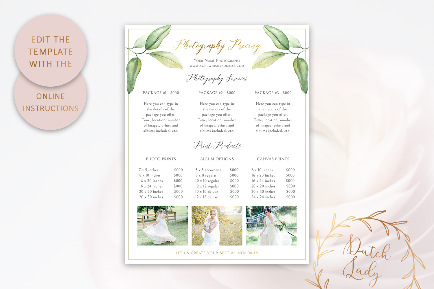 PSD Photography Pricing Guide Template Design #10 example image 5