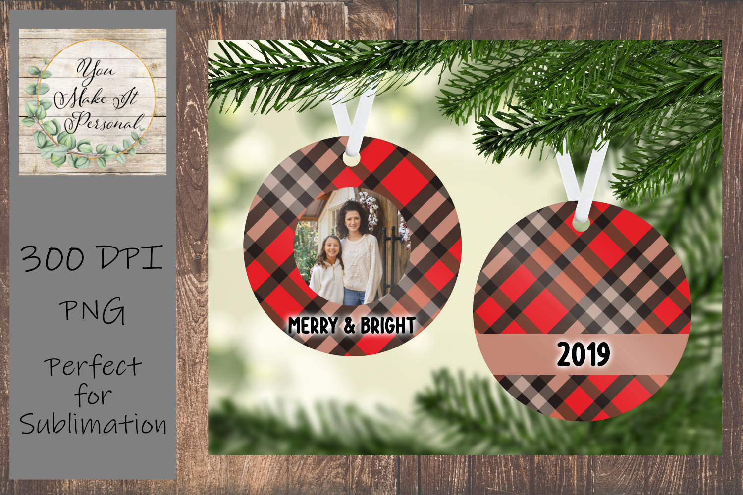Sublimation Ornament Template - Classic Plaid Design example image 1