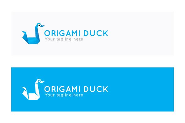 Origami Duck - Creative Bird Stock Logo Template example image 2