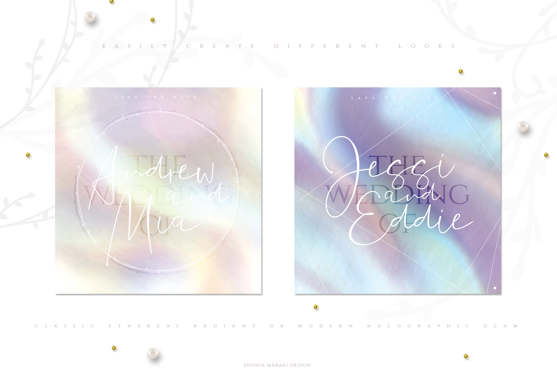 Holographic Pearl - Texture plus FREE Floral set example image 5