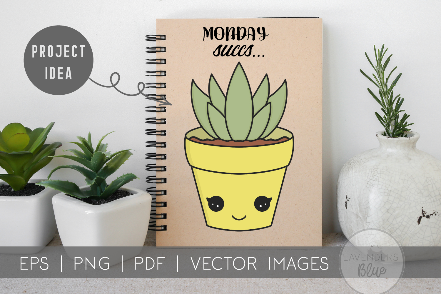 Succulent Pack | Vector succulents & Cactus Kawaii Images example image 3