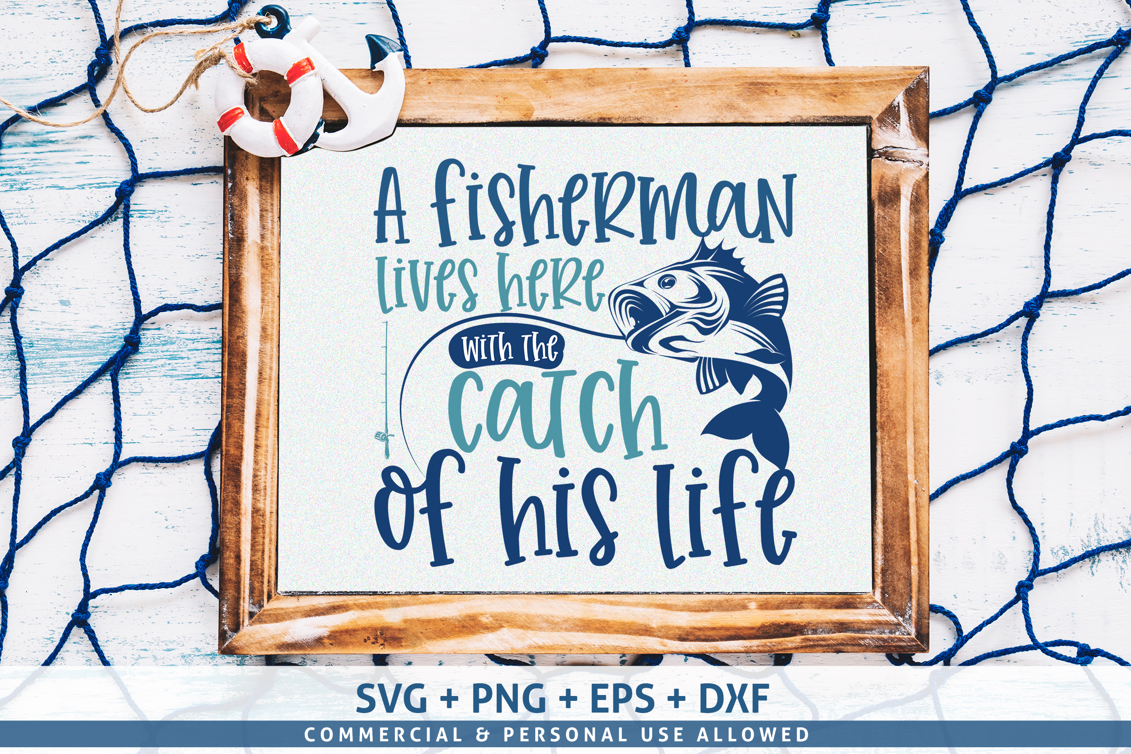 A fisherman lives here with the catch SVG example image 1