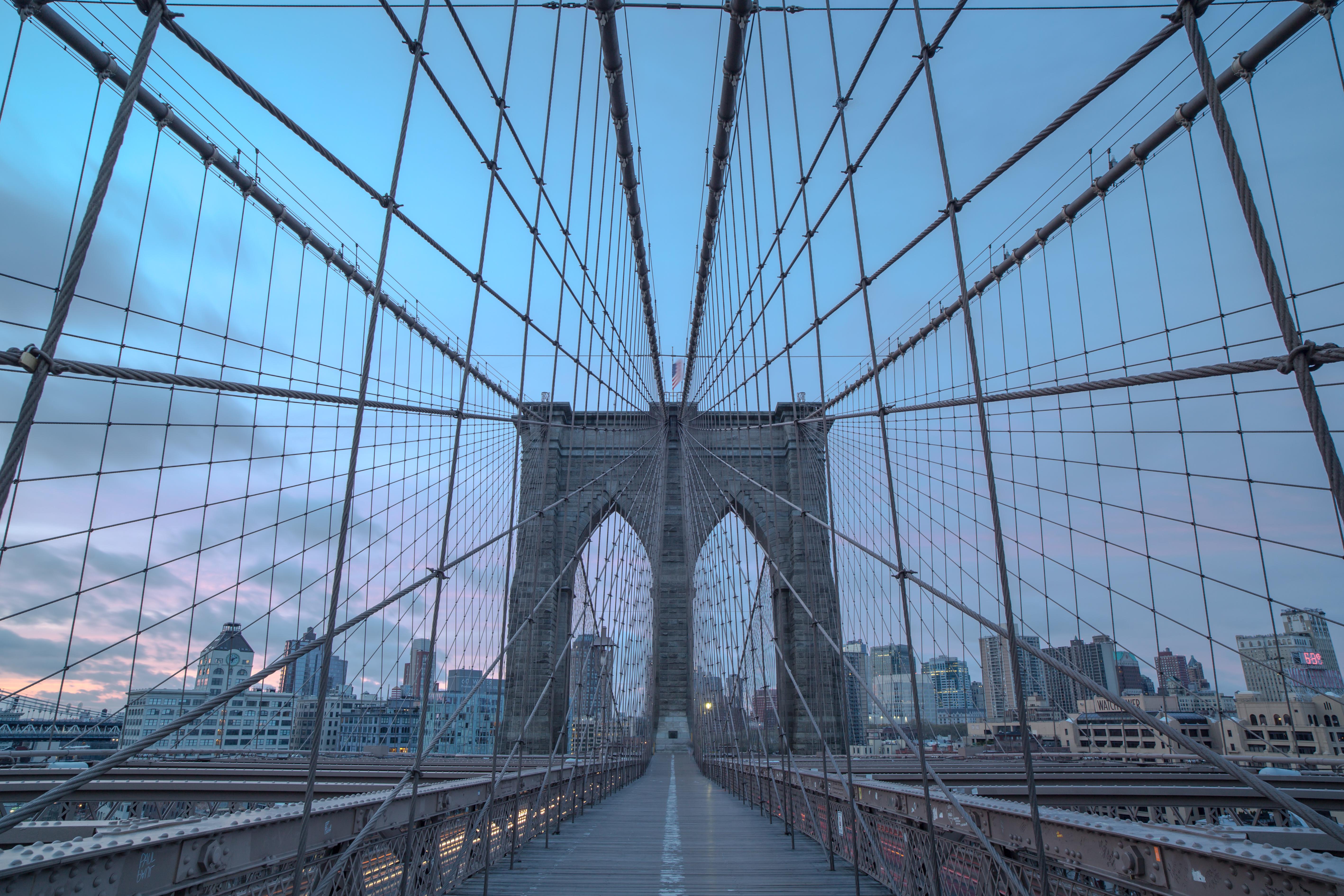 Brooklyn bridge during sunrise example image 1
