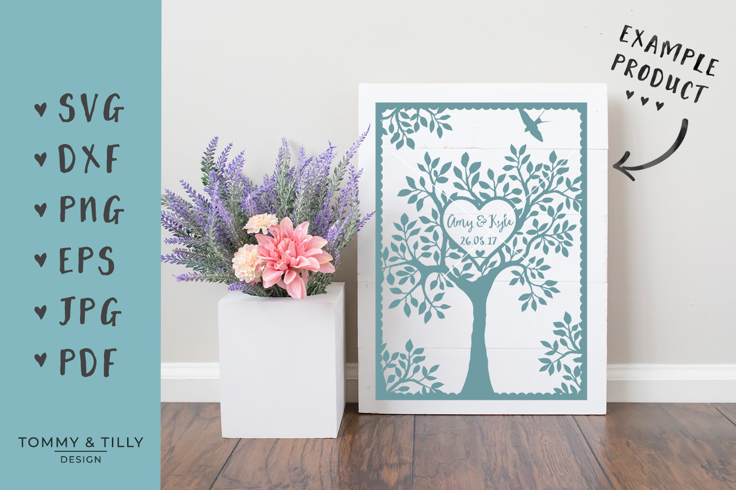 Natural Wedding Tree - SVG EPS DXF PNG PDF JPG Cutting File example image 2