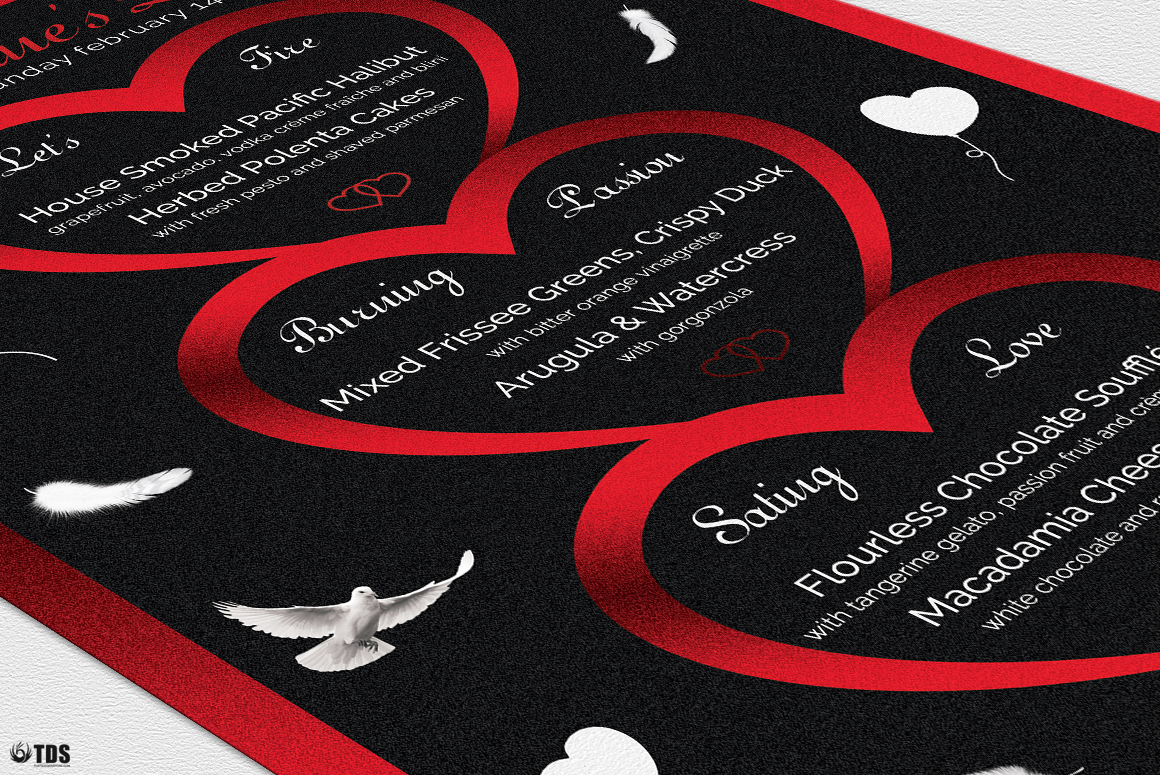 Valentines Day Menu Template V4 example image 6