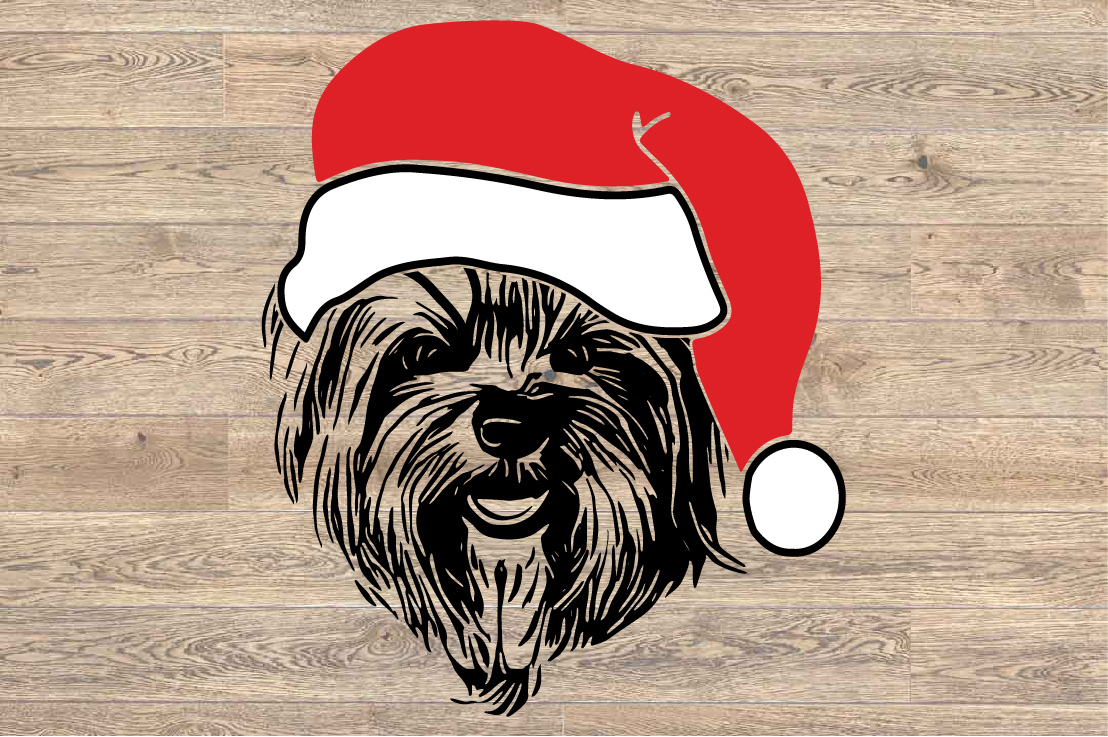 Yorkie Whit Christmas Hat Santa's Elf santa Squad dog 1592s example image 2