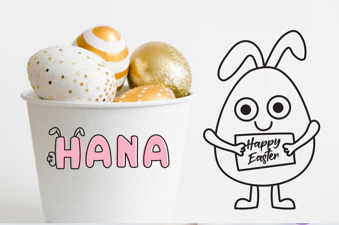 Little bunny font with easter doodles example image 2