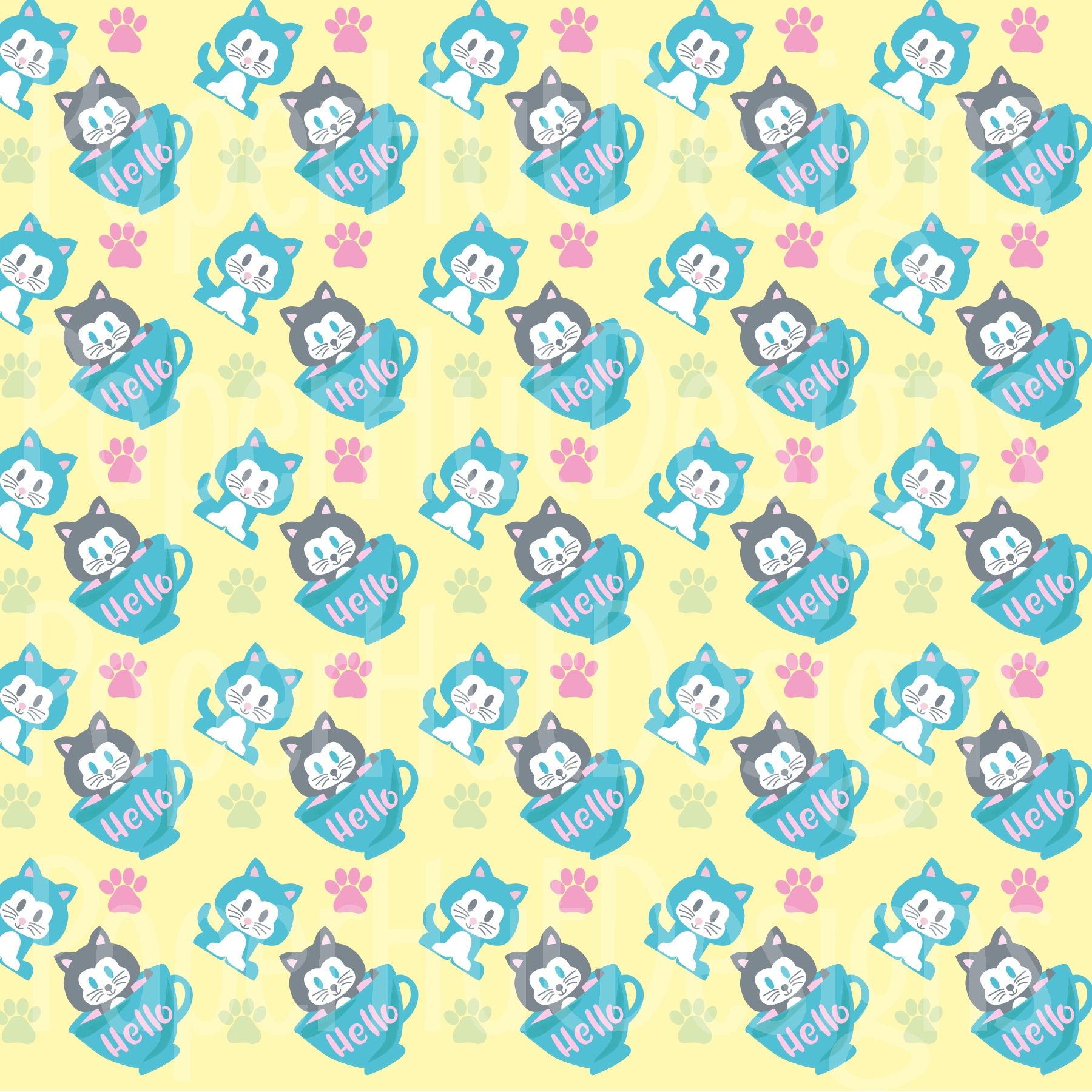 Kitten Cat Clipart and Digital Papers Set example image 7