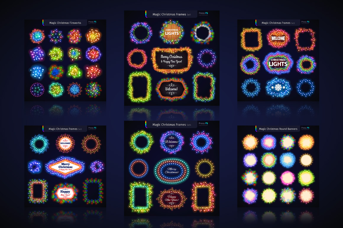 Magic Christmas Lights Vector Brushes Big Set example image 4