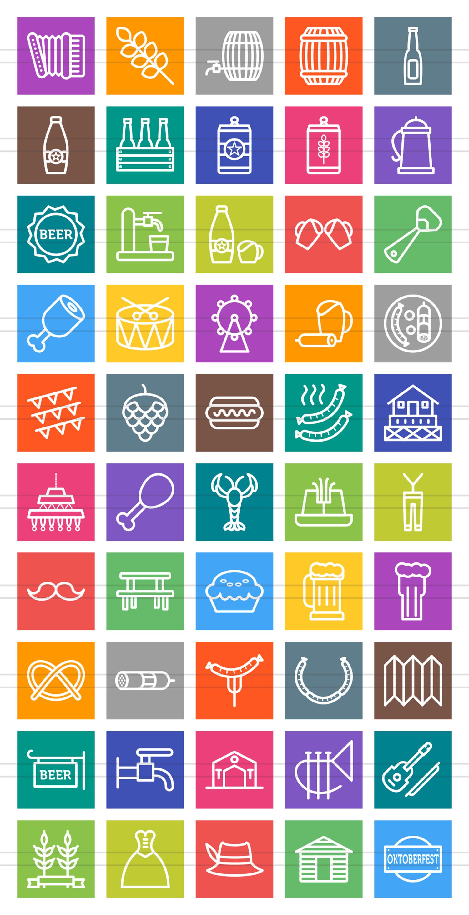 50 Oktoberfest Line Multicolor B/G Icons example image 2