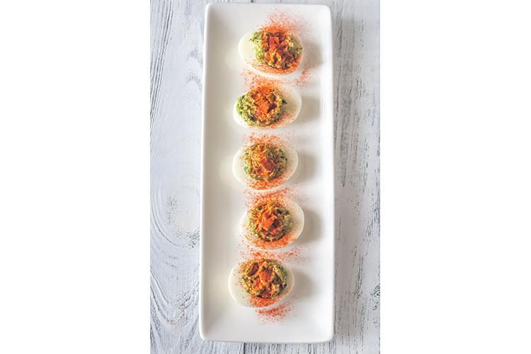 Guacamole and bacon deviled eggs example image 1