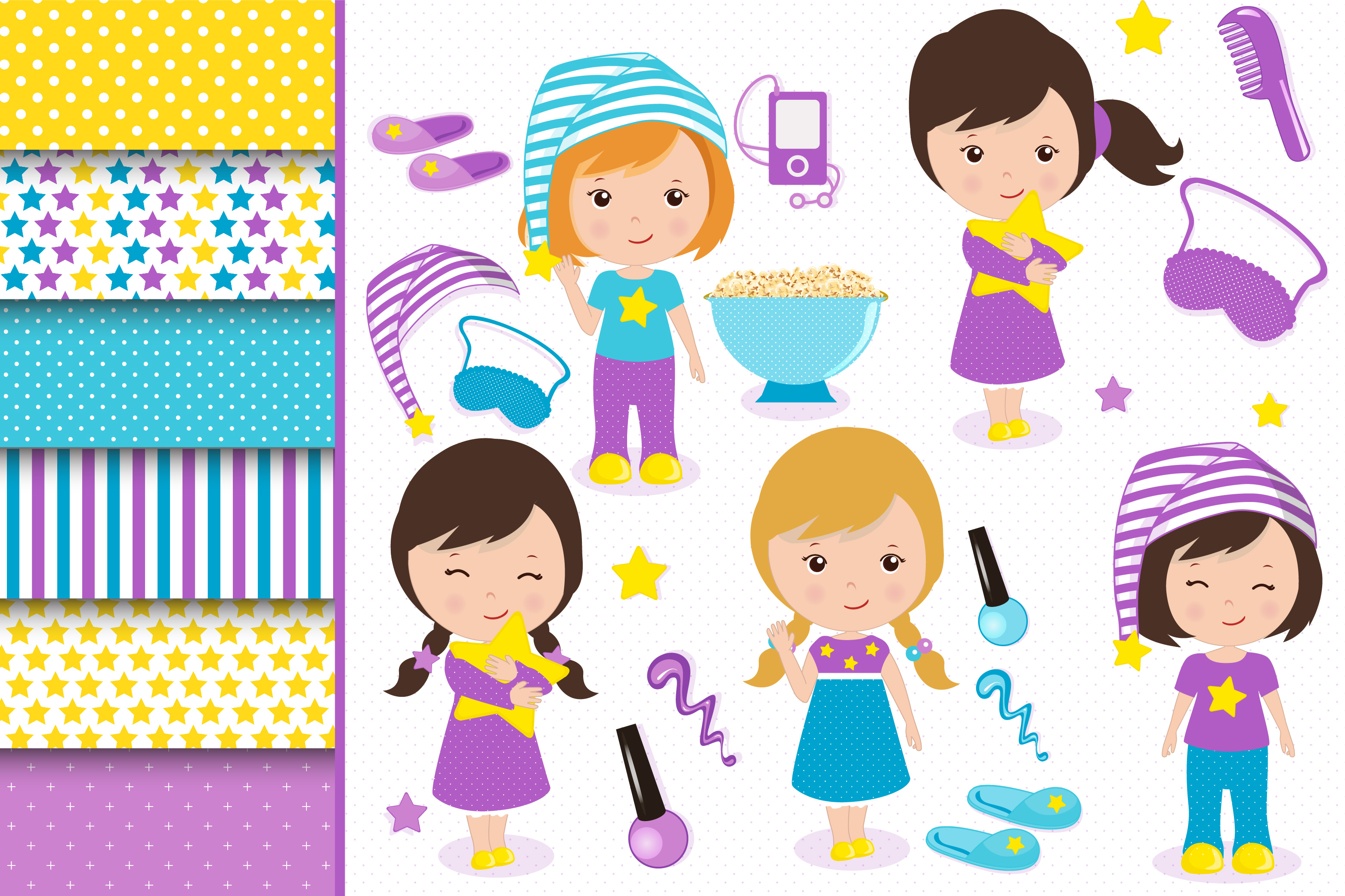 Sleepover graphics, Little girls clipart set example image 1