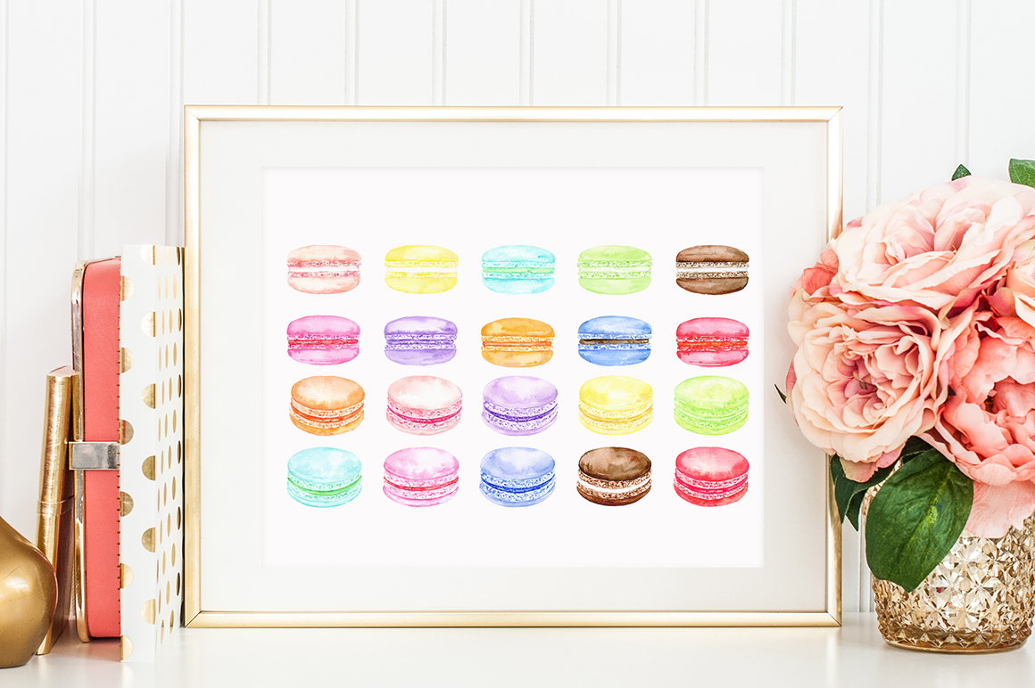 Watercolor Macaron Illustration example image 7