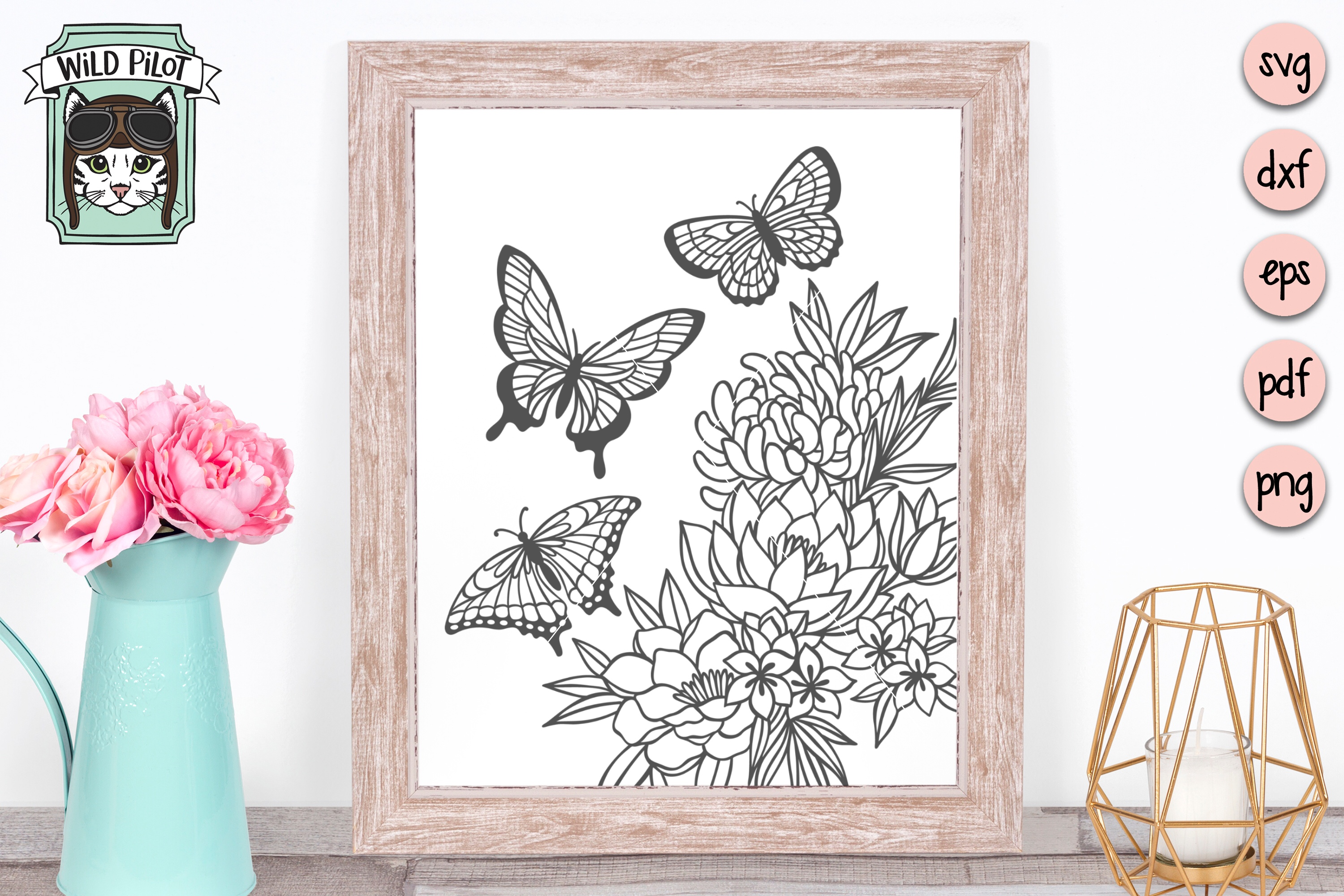 Butterfly SVG files, Butterflies cut file, Flowers, Floral example image 3
